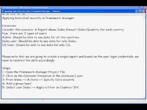 cognos framework manager tutorial