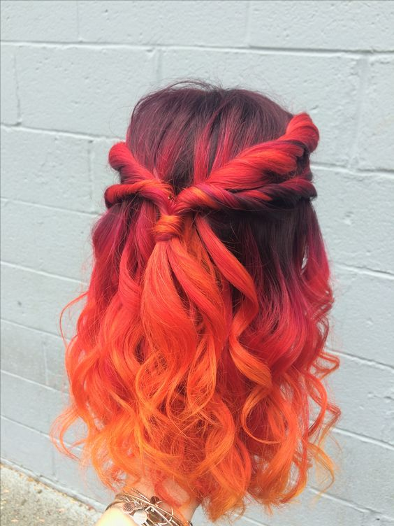 red orange ombre hair tutorial