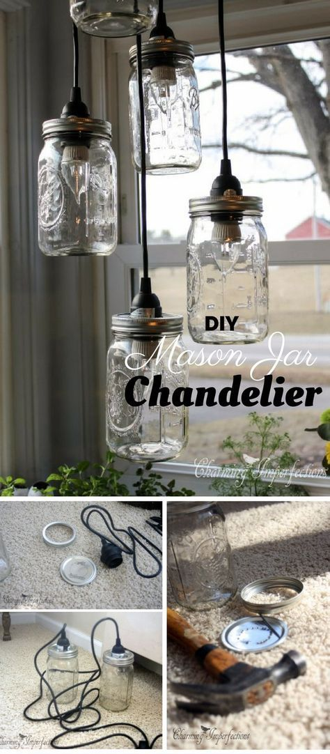 diy mason jar chandelier tutorial