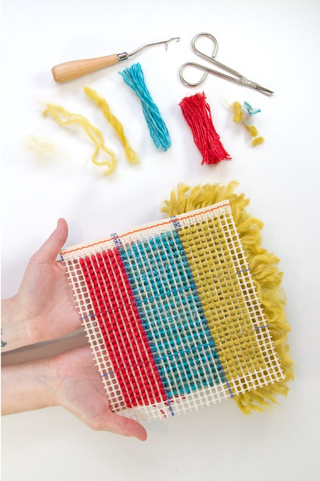 rug hooking with yarn tutorial