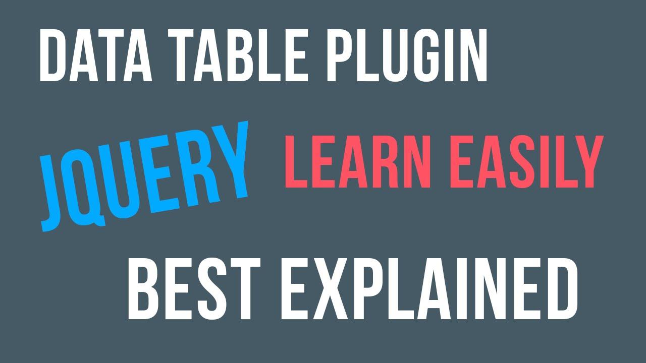 jquery datatable plugin tutorial